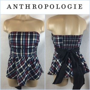 Anthro Blue Plaid Strapless Sash Tie Top